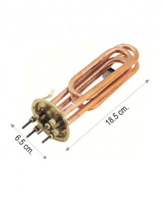 İki elemanlı bakır şofben rezistansı 5000+5000 W 220 V 8.5